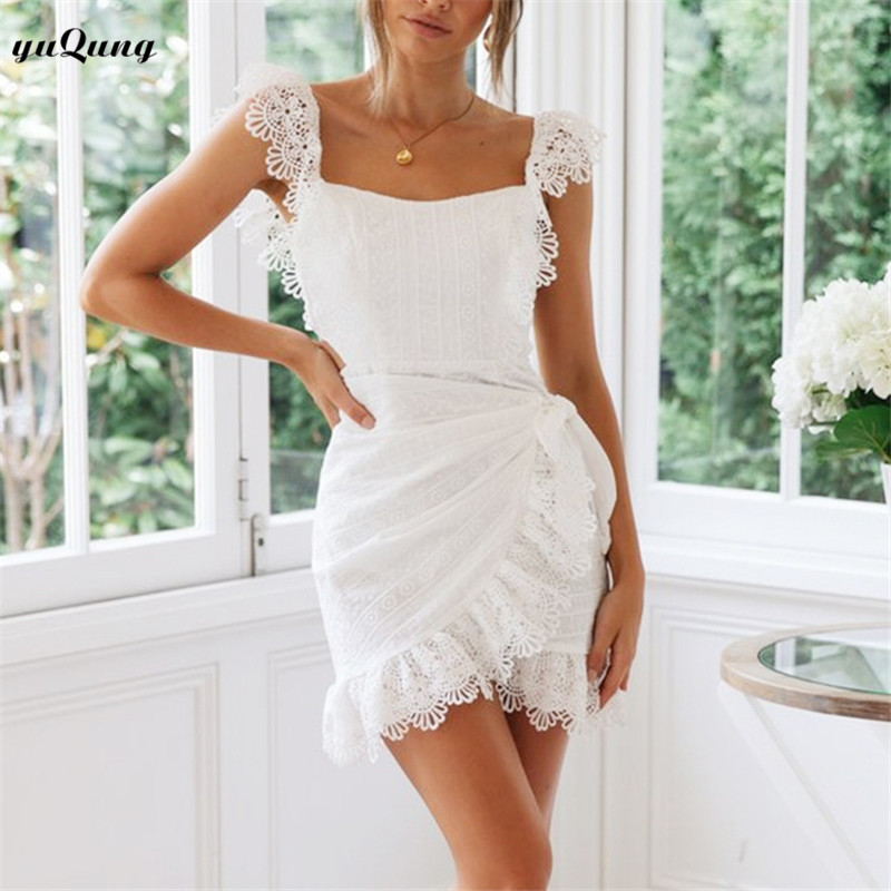 Us 2249 50 Offyuqung White Lace Trim Backless Short Party Tight Dress For Women Cold Shoulder Ruffle Irregular Mini Beach Dress 2019 2d61 In