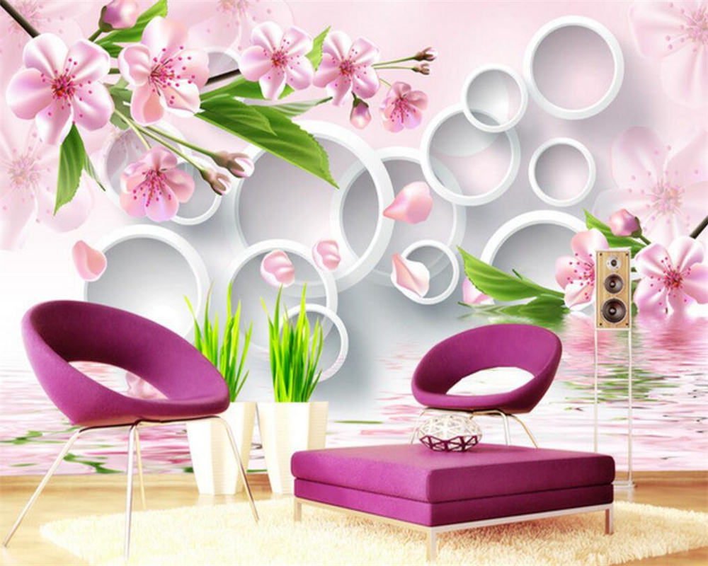 Beibehang custom large murals murals wall paper wallpapers plum blossom reflection hd pictures wallpaper for walls 3 d