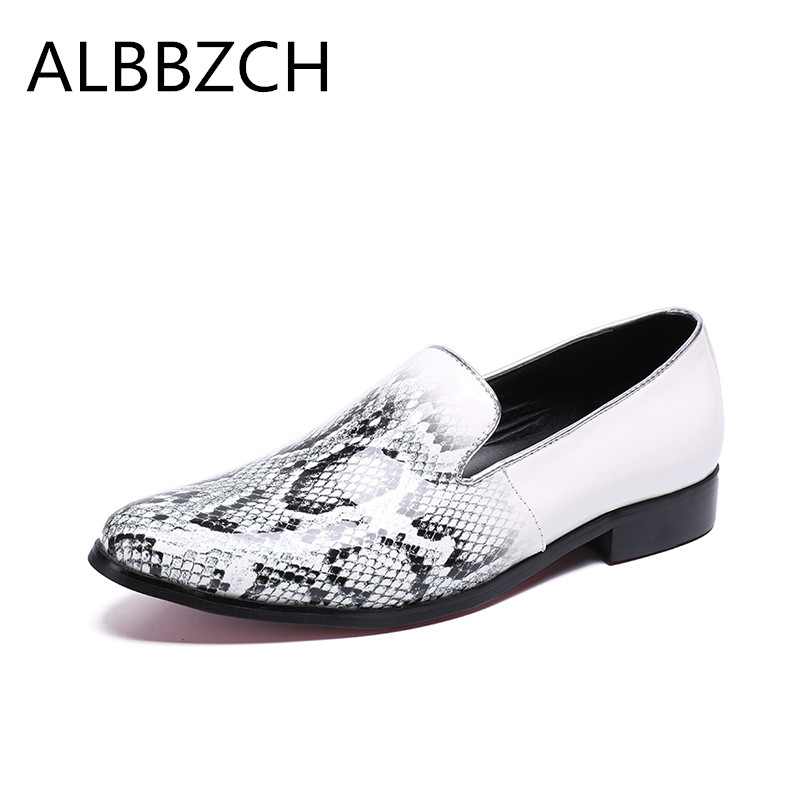 New mens fashion loafers white snakeskin pattern embossed leather casual shoes men pointd toe slip on