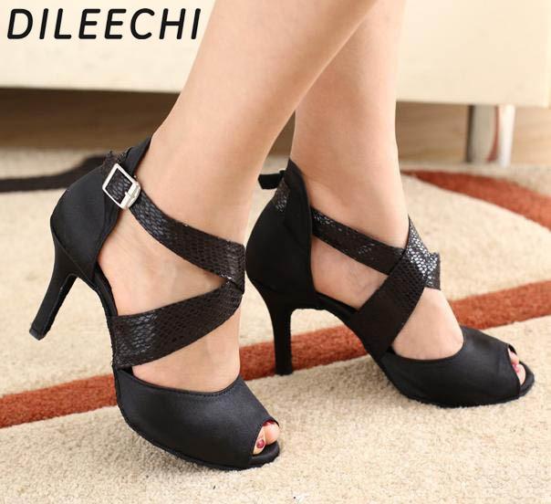 DILEECHI zapatos de baile latino para mujer, calzado con estampado de serpiente de satén negro, suela exterior blanda, zapatos de baile de salón, zapatos de Salsa de vals