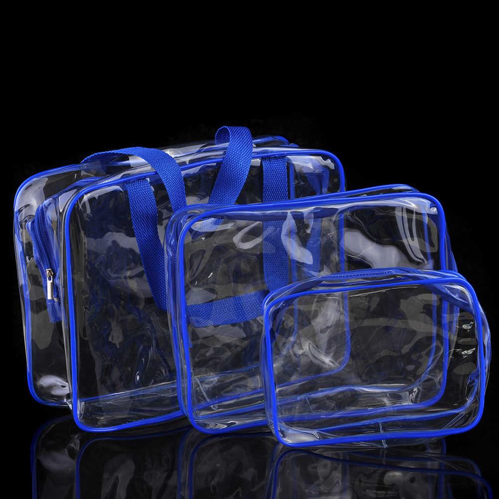 3 Pcs Conjunto Impermeável PVC Transparente Com Zíper Bolsa de Transporte Organizador Caso Cosméticos Multi-Tamanhos Saco de Lavagem De Viagem de Higiene Maquiagem