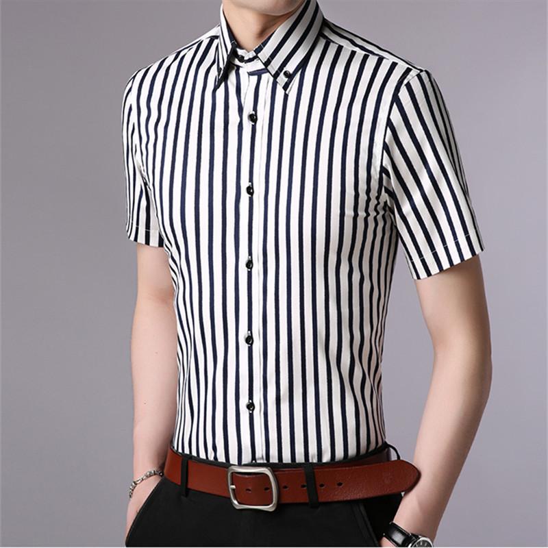efcf3d329dd 2019 Plus Size 4XL 2018 Summer Mens Korean Style Striped Smart ...