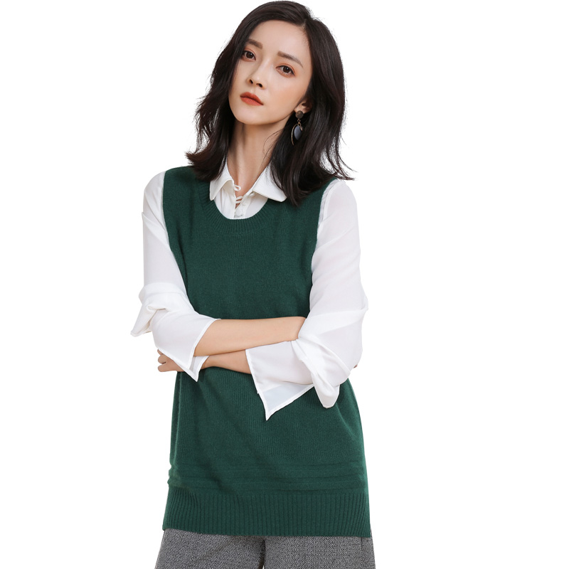 Casual woman sleeveless cashmere wool tank top sweater design for women - GML7282