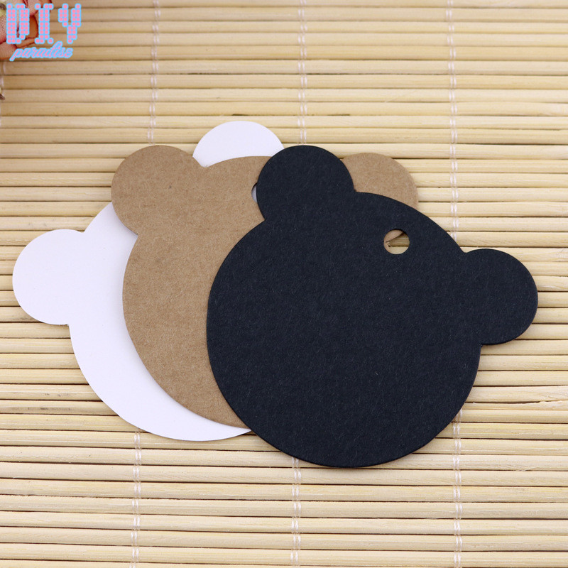 100PCS Bear Kraft Paper Tags Jewelry Garment DIY Crafts Cards Price Hang Party Gift Packaging Label Bookmark Luggage Tag