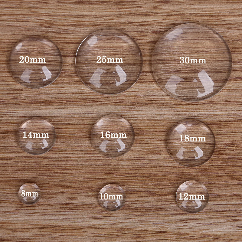 10 cabochons 18 mm en verre ronds transparents