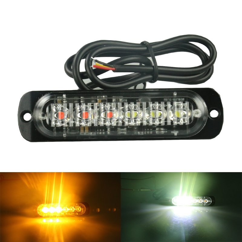 12/24V 6-LED Car Truck Emergency Warning LED Strobe Flash Light Hazard Flashing Lamp Light Bar Police Firefighter amber 4 led 12 24v car strobe flash light white red amber light vehicle truck rear side light car emergency warning lamp drop shipping