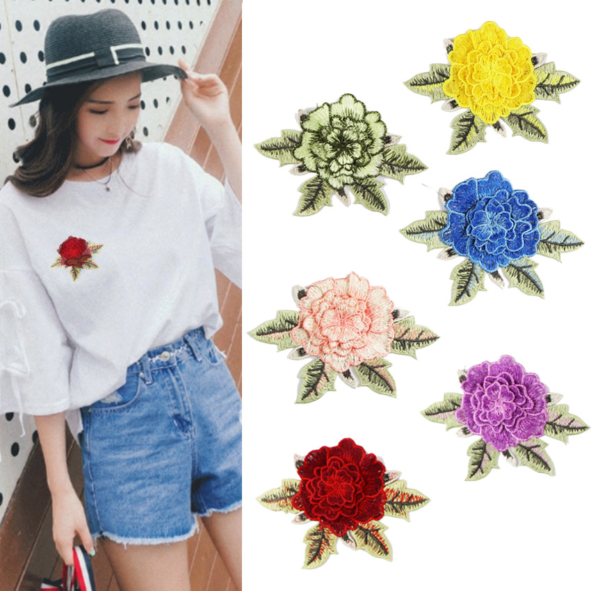 2019 New Fashion DIY Applique Water Soluble Embroidery  Costume Decoration Patch Colorful Decals  Accessories(China)