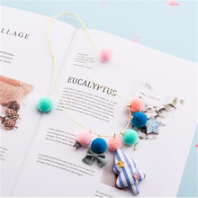 Korea Handmade Cute Plush Ball Fabric Ice cream Bowknot Star Children Necklace For Girls Kids Apparel Accessories-HZPRCGNL032F