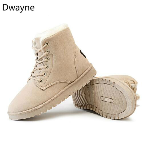 2f7a65add0cc2 Dwayne Classic Women Winter Boots Suede Ankle Snow Boots Female Warm Fur  Plush Insole High Quality Botas Mujer Lace-Up boots