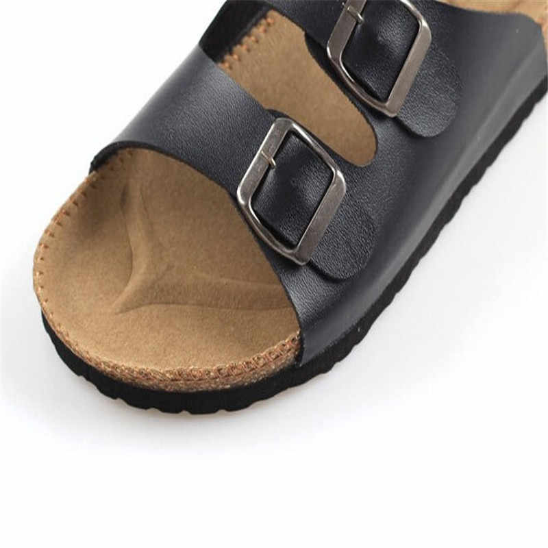 Plus Size 35-44 Men Sandals Flip Flops Flats Summer Shoes Young boys Casual Cork Slippers white black red blue