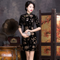 New Arrival Fashion Chinese Style Dress Women S Velour Long Cheongsam Elegant Slim Qipao Clothing Size