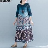 DIMANAF плюс размер женское длинное платье Винтаж леди Vestidos свободное Повседневное платье с принтом женский элегантный сарафан 2019 весна лето н...