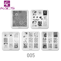 Sistema de desarrollo de CONOCIMIENTOS Seis Combinaciones de Seleccionar 5 unids/set Vario Patrón Plantilla Stencil Herramientas de Belleza Decoración de Uñas Sello Polaco Placa