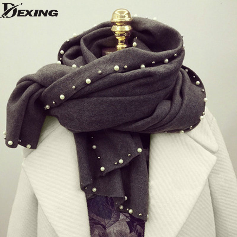 New Fashion Autumn Winter Women Tassel Pearl Scarf Korean Female Imitation Cashmere Scarves Long Shawl Wrap Blanket Warm Scarf