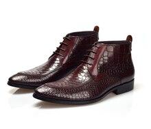 Moda Preto/marrom mens tan sapatos de grãos de crocodilo mens ankle boots de couro genuíno botas botas de vestido dos homens sapatos de negócios