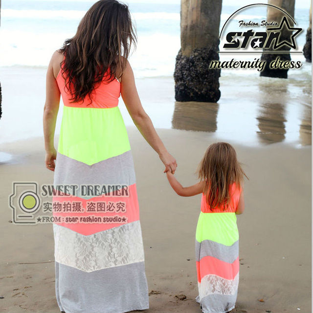 Summer Family Matching Clothes Mother Daughter Dresses Beach Style Matching Dresses 2016 Summer Mother and Kids Girls Costume