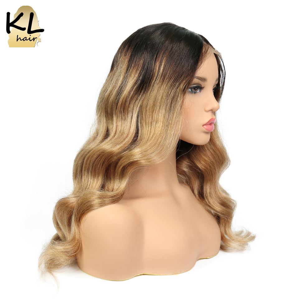 KL Full Lace Human Hair Wigs With Baby Hair Ombre Color 1B 27 Glueless Pre Plucked