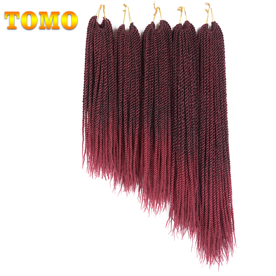 "TOMO Ombre Braiding Hair Kanekalon Crochet Braids Small Senegalese Twist 14"" 16"" 18"" 20"" 22"" 30roots Pre Braided Hair Extensions"