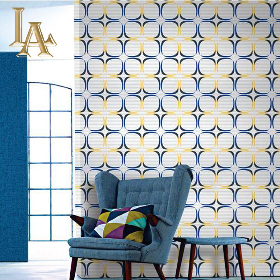 Fashion yellow blue black white plaid wallpaper pvc living for Decoration murale castorama