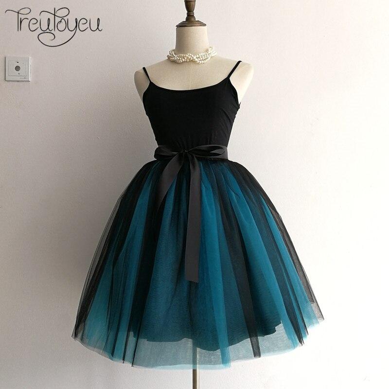6 schichten 65 cm Winter Tüll Rock Midi Plissee Röcke für frauen Hohe Taille Gothic Tutu Femme Streetwear Falda Plisada Tule rok