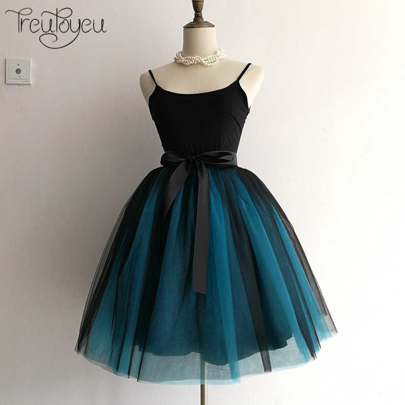 a05b2867b1 Gothic 5 Layers 65cm Mix Colors Tutu Tulle Skirt Women Streetwear High  Waist Pleated Midi Skirts