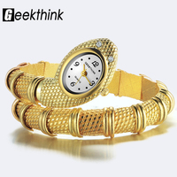 GEEKTHINK Bling Fashion Brand Quartz Watch Women Bracelet Ladies Snake Dress Wrist Watch Bangle Diamond Ornament