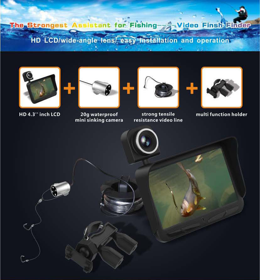HD Underwater Video Camera System with 4.3 LCD Monitor 4000mAh Battery Built-in & 20M 2MP Fishing Camera and AHD Camera on LCD_8