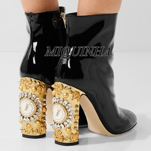new design watches and clocks crystal women booties ankle high chunky high heel inner zipper boots rivet suede leather footwear