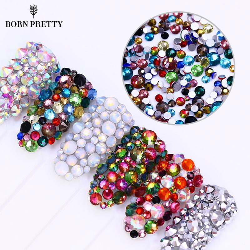 300 Pcs bunglon api kuku, Berlian imitasi, Mengkilap Opal datar bawah Multi - - warna-warni kiat Manicure kuku, Seni dekorasi ...