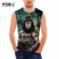 FORUDESIGNS Free Shipping Men Fitness Tank Tops Bodybuilding Clothing Vest 3D Monkey Animal Printing Male Shirts