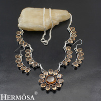 Hermosa Jewelry Trend Fashion Morganite 925 Sterling Silver women Necklace + Earrings 20 inches LM023
