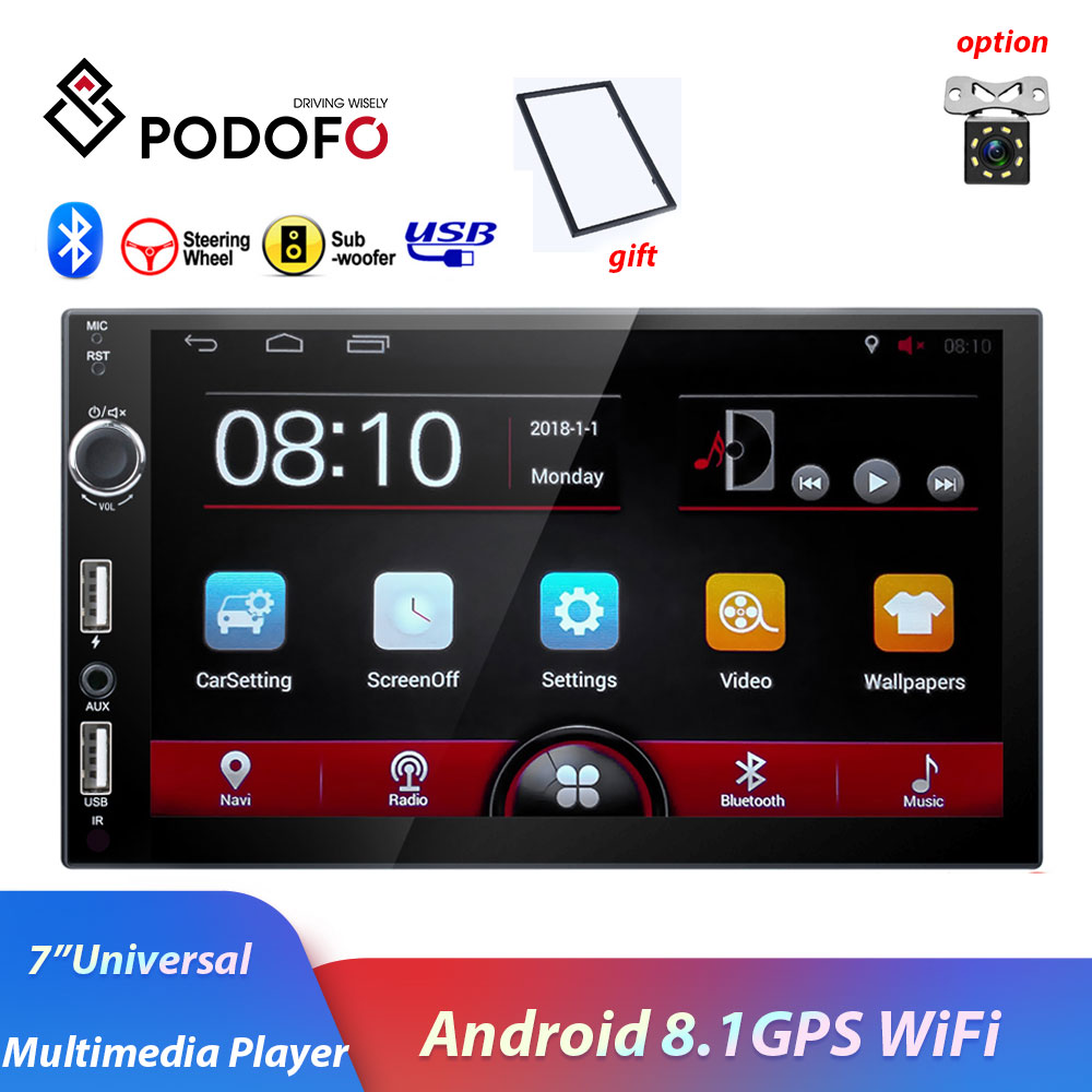Podofo 2din 7 Touch Screen Car Radio Multimedia Player Android8.1 GPS Nav Wifi MP5 Mirror With frame Audio stereo for Universal