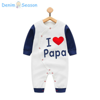Denim Season Costume Newborn Baby Clothes Cotton Cute Boy Baby Rompers I Love Papa Printed Jumpsuit
