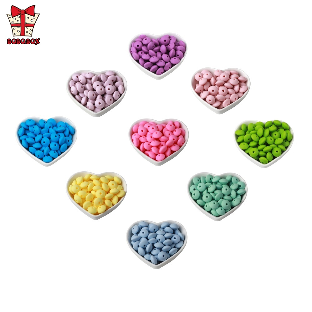 BOBO.BOX 10Pcs Baby Teething Toys Silicone Lentil Beads 12mm Pearl Silicone Beads BPA Free DIY Baby Pacifier Chain Accessories