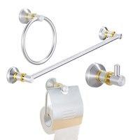 4 Piece European Luxury Aluminum House Bathroom Hardware Bath Decorative Accessories Sets With Towel Bar Ring Hooks