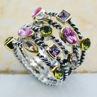 Peridot Pink Sapphire Amethyst Morganite 925 Sterling Silver Top Quality Fancy Jewelry Wedding Ring Size 6