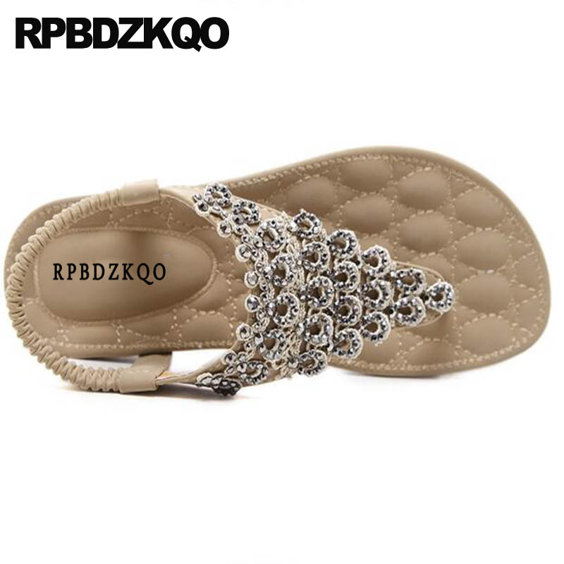 T Strap Women Flat Rhinestone Beach Shoes Sandals Leisure Fashion Bohemia Style Thong Crystal Wide Fit Diamond Nude Large Size