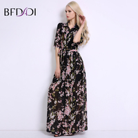BFDADI New Arrival Womens Summer Flowers Chiffon Long Dresses Brand Ladies Fashion Lapel Beach Dress BF005