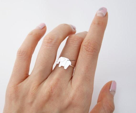 Qiming Hot Min 1pc Gold Origami Ring Tiny Elephant Ring Women