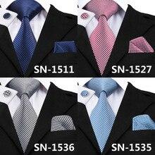 New Clasic Grey Tie for Men Silk Fabric Jacquard Woven Tie Hanky Cufflink Set for Men Design Fashion Silk Ties