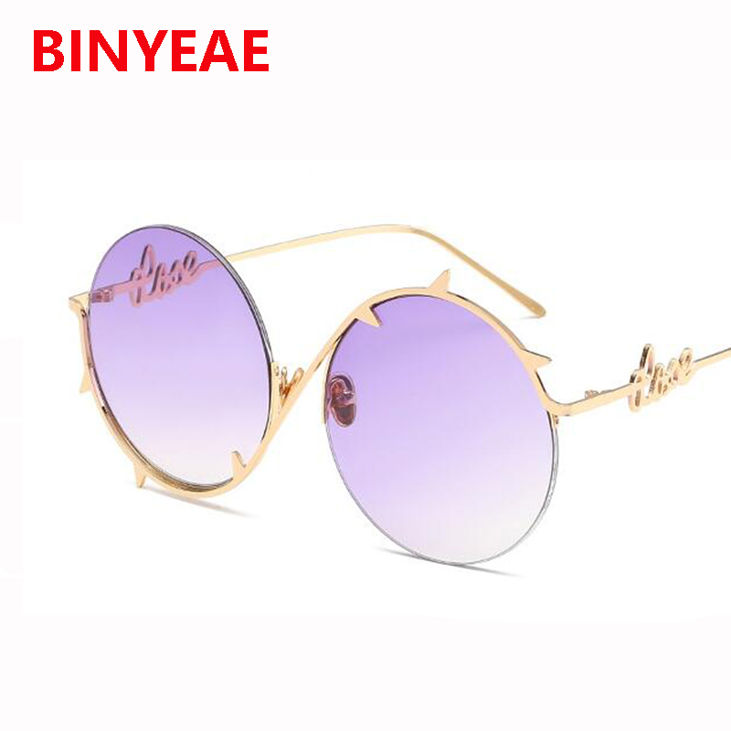 f73957b23083 Spiked round sunglasses women new designer shades Oversized large Size  Retro Sun Glasses Mirror Lady Female UV400 purple glasses-in Sunglasses  from Apparel ...