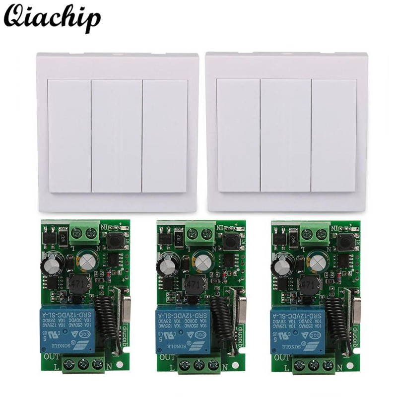AC 110V 220V 1 CH 433 Mhz Universal Wireless Remote Control Switch Relay Receiver and 433Mhz 86 Wall Panel RF Remote Transmitter