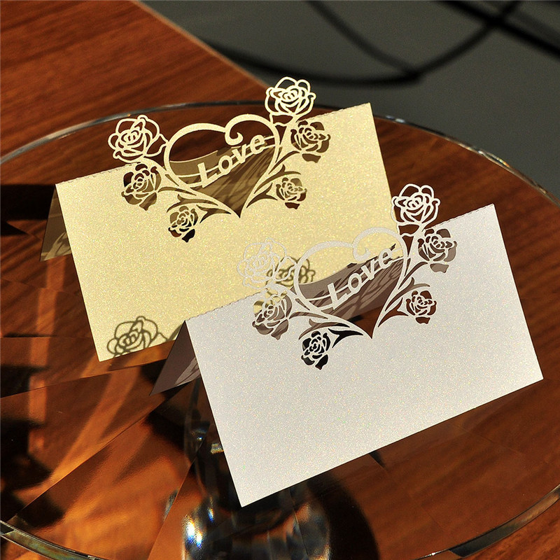 product 12PCS White Laser Cut Love Heart Name Place Card / Escort Card / Tabel Card/ Seats Card Party Wedding Invitations Favors Decor