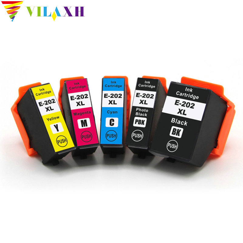 Vilaxh 5pc 202 Compatible ink cartridge <font><b>202xl</b></font> for <font><b>Epson</b></font> XP-6000 XP-6005 XP6000 XP6005 printer free shipping image