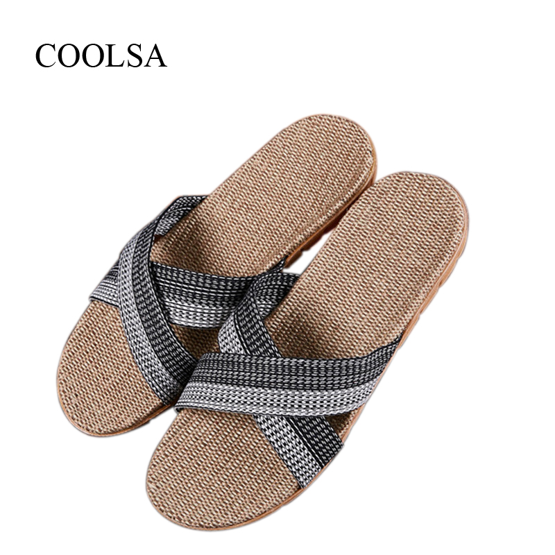 COOLSA Men's Non-slip Cross-tied Linen Slippers Fashion Flat Flip Flops Indoor Bathroom Slippers Men's Flax Slides Flip Flops coolsa women s summer striped linen slippers breathable indoor non slip flax slippers women s slippers beach flip flops slides