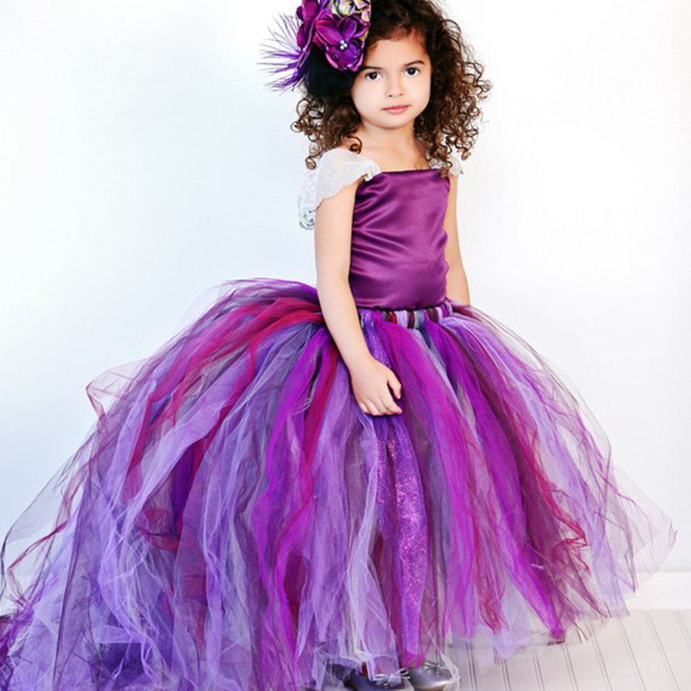 Long Purple Lace Flower Girl Tulle Tutu Dress Kids Soft Stain Top Bridesmaid Wedding Dresses with Train Child Birthday Clothes kids fashion comfortable bridesmaid clothes tulle tutu flower girl prom dress baby girls wedding birthday lace chiffon dresses