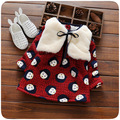 2016 Otoño Invierno traje de vestido del bebé prendas de Vestir Exteriores de Imitación de la Moda Chalecos de piel Con Capucha de la capa + de manga larga impresa flor de lana vestido