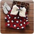 2016 Outono Inverno da menina Do Bebê vestido de terno Outerwear Moda Faux Coletes de pele Com Capuz brasão + manga comprida flor impresso velo vestido