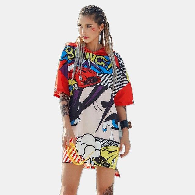 JUST.BE.NEVER graphic tees wonder women long T-shirt cartoon anime car eyes  bang pinted kawaii female red hipster tees hooded 7fdbbb854cc7