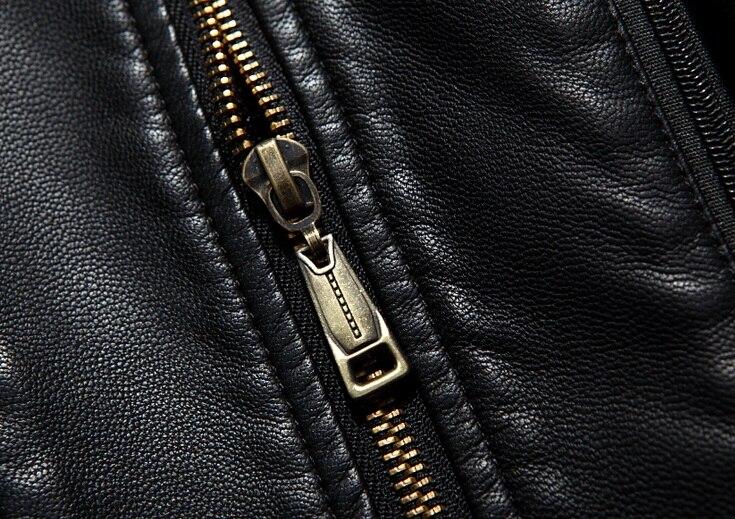 007 Новая модная зимняя мужская одежда из натуральной кожи пальто из овчины мужской кожаный длинный плащ - 4